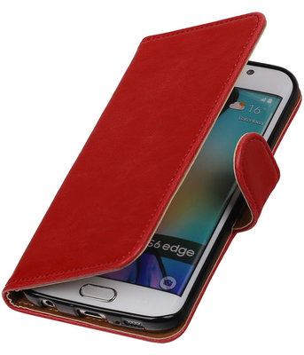 Rood Pull-Up PU Hoesje Samsung Galaxy S6 Edge Booktype Wallet Cover