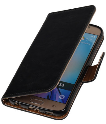 Zwart Pull-Up PU Hoesje voor Samsung Galaxy S6 Booktype Wallet Cover