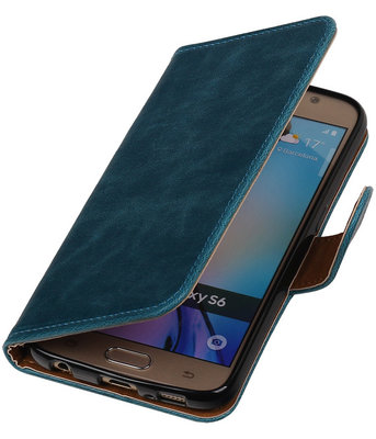 Blauw Pull-Up PU Hoesje voor Samsung Galaxy S6 Booktype Wallet Cover