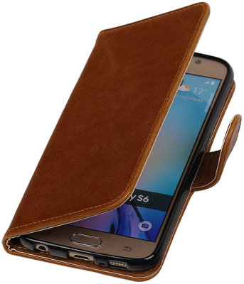 Bruin Pull-Up PU Hoesje voor Samsung Galaxy S6 Booktype Wallet Cover