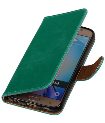 Groen Pull-Up PU Hoesje voor Samsung Galaxy S6 Booktype Wallet Cover