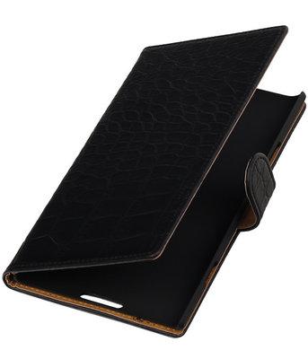 Zwart Krokodil Booktype Hoesje voor Nokia Lumia 1520 Wallet Cover