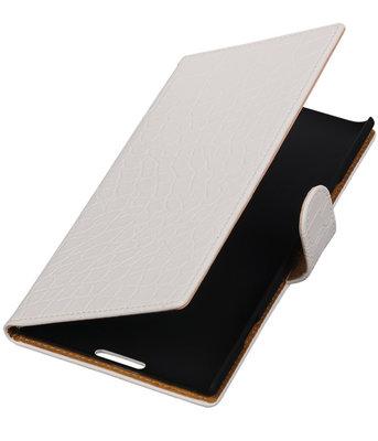 Wit Krokodil Booktype Hoesje voor Nokia Lumia 1520 Wallet Cover