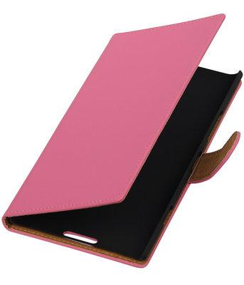 Roze Effen Booktype Hoesje voor Nokia Lumia 1520 Wallet Cover