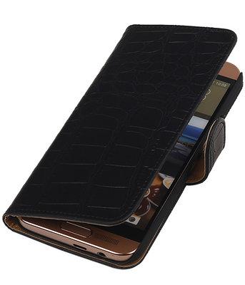 HTC One SV - Krokodil Zwart Booktype Wallet Hoesje