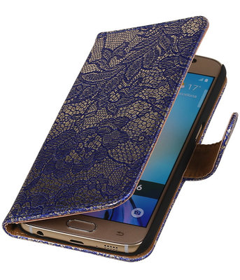 Blauw Lace Booktype Samsung Galaxy S6 Wallet Cover Hoesje