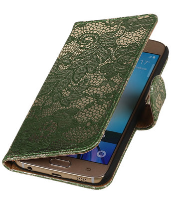 Donker Groen Lace Booktype Hoesje voor Samsung Galaxy S6 Wallet Cover