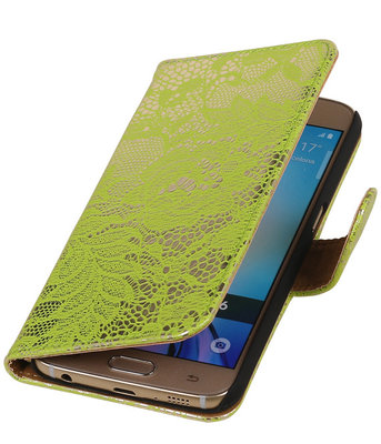 Groen Lace Booktype Samsung Galaxy S6 Wallet Cover Hoesje
