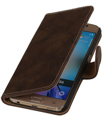 Donker Bruin Hout Booktype Samsung Galaxy S6 Wallet Cover Hoesje