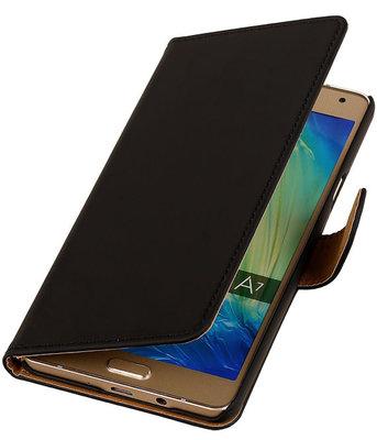 Zwart Effen Booktype Hoesje voor Samsung Galaxy A7 2015 Wallet Cover