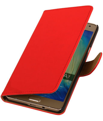 Rood Effen Booktype Samsung Galaxy A7 2015 Wallet Cover Hoesje