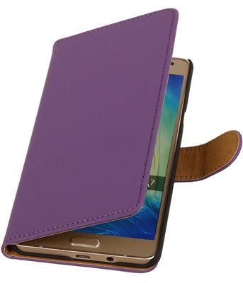 Paars Effen Booktype Hoesje voor Samsung Galaxy A7 2015 Wallet Cover