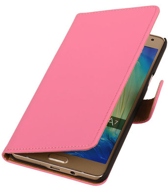 Roze Effen Booktype Hoesje voor Samsung Galaxy A7 2015 Wallet Cover