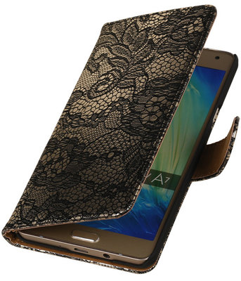 Zwart Lace Booktype Samsung Galaxy A7 2015 Wallet Cover Hoesje