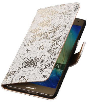 Wit Lace Booktype Hoesje voor Samsung Galaxy A7 2015 Wallet Cover