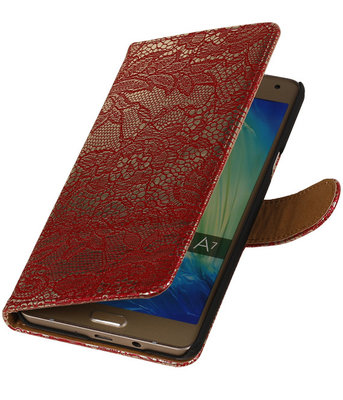 Rood Lace Booktype Hoesje voor Samsung Galaxy A7 2015 Wallet Cover