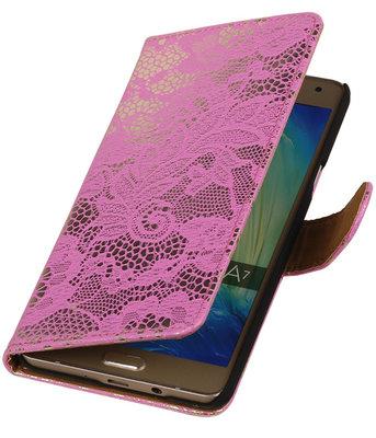Roze Lace Booktype Samsung Galaxy A7 2015 Wallet Cover Hoesje