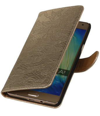 Goud Lace Booktype Samsung Galaxy A7 2015 Wallet Cover Hoesje