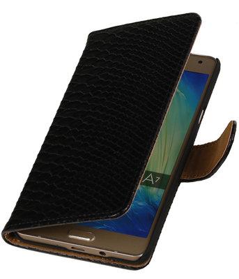 Zwart Slang Booktype Hoesje voor Samsung Galaxy A7 2015 Wallet Cover
