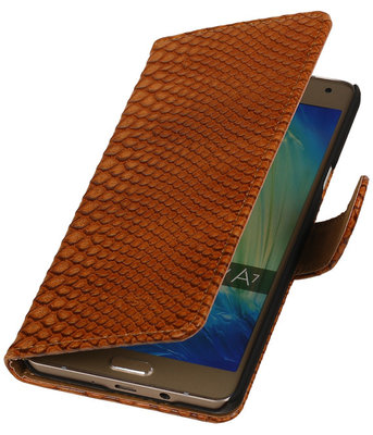 Bruin Slang Booktype Hoesje voor Samsung Galaxy A7 2015 Wallet Cover