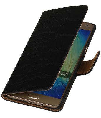 Zwart Krokodil Booktype Hoesje voor Samsung Galaxy A7 2015 Wallet Cover