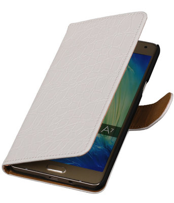 Wit Krokodil Booktype Hoesje voor Samsung Galaxy A7 2015 Wallet Cover