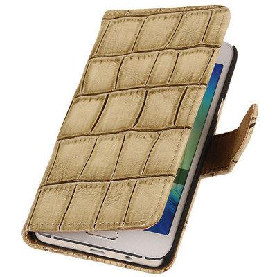 Beige Krokodil Booktype Samsung Galaxy S5 Wallet Cover Hoesje