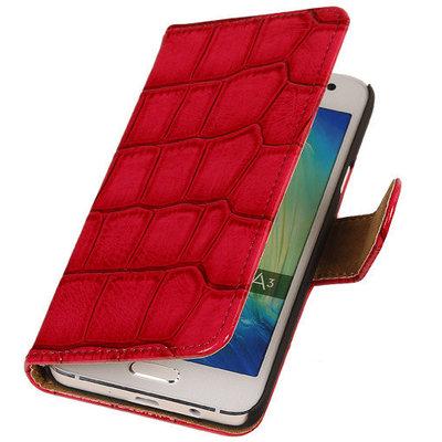 Roze Krokodil Booktype Samsung Galaxy S5 Wallet Cover Hoesje
