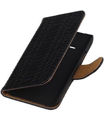 Zwart Slang Booktype Hoesje voor Samsung Galaxy Core LTE Wallet Cover