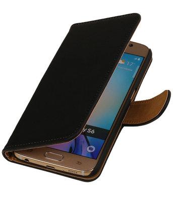Zwart Hout Booktype Hoesje voor Samsung Galaxy Core LTE Wallet Cover
