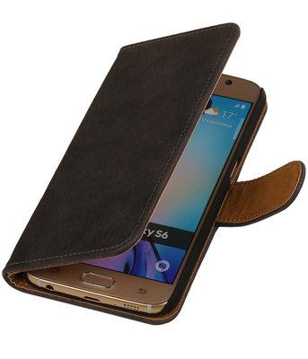 Grijs Hout Booktype Hoesje voor Samsung Galaxy Core LTE Wallet Cover