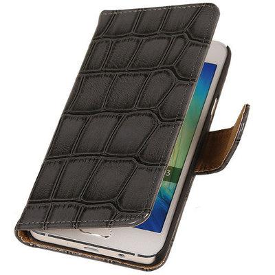 Grijs Krokodil Booktype Hoesje voor Samsung Galaxy Core LTE Wallet Cover