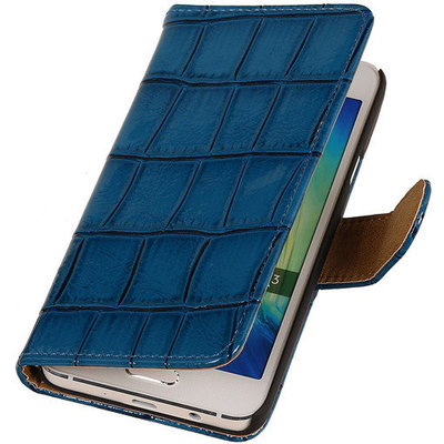 Blauw Krokodil Booktype Hoesje voor Samsung Galaxy Core LTE Wallet Cover