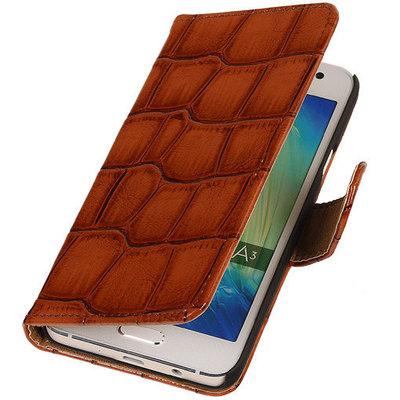 Bruin Krokodil Booktype Hoesje voor Samsung Galaxy Core LTE Wallet Cover