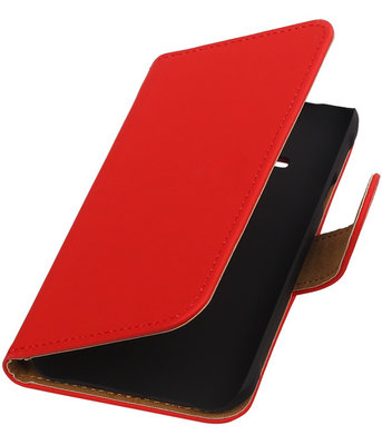 Rood Effen Booktype Hoesje voor Samsung Galaxy Core Advance i8580 Wallet Cover