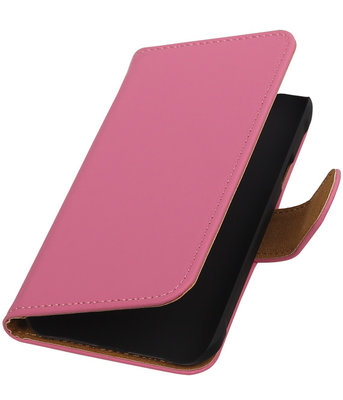 Roze Effen Booktype Hoesje voor Samsung Galaxy Core Advance i8580 Wallet Cover
