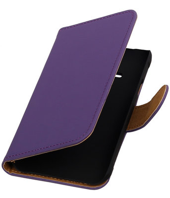 Paars Effen Booktype Hoesje voor Samsung Galaxy Core Advance i8580 Wallet Cover