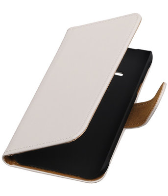 Wit Effen Booktype Hoesje voor Samsung Galaxy Core Advance i8580 Wallet Cover