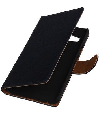 Donker Blauw Echt Leer Booktype Samsung Galaxy Core Prime G360 Wallet Cover Hoesje