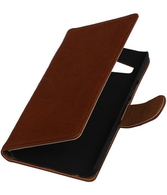 Bruin Echt Leer Booktype Samsung Galaxy Core Prime G360 Wallet Cover Hoesje