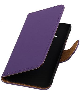 Paars Effen Booktype Hoesje voor Samsung Galaxy Ace S5830 Wallet Cover