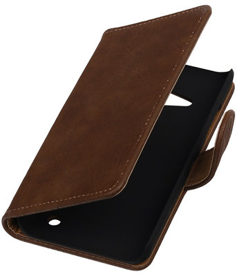 Bruin Hout Booktype Hoesje voor Microsoft Lumia 550 Wallet Cover