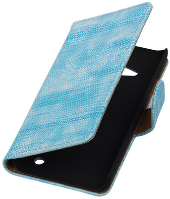 Turquoise Mini Slang Booktype Hoesje voor Microsoft Lumia 550 Wallet Cover