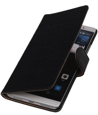 Zwart Krokodil Booktype Hoesje voor Huawei Mate S Wallet Cover