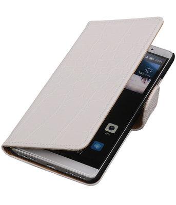 Wit Krokodil Booktype Hoesje voor Huawei Mate S Wallet Cover