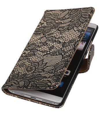 Zwart Lace Booktype Hoesje voor Huawei Mate S Wallet Cover