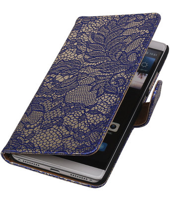 Blauw Lace Booktype Hoesje voor Huawei Mate S Wallet Cover