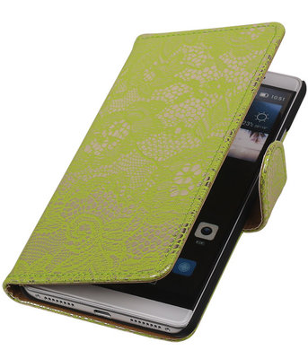 Groen Lace Booktype Hoesje voor Huawei Mate S Wallet Cover