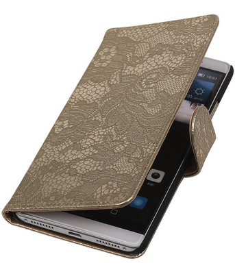 Goud Lace Booktype Hoesje voor Huawei Mate S Wallet Cover