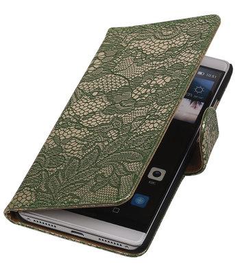 Donker Groen Lace Booktype Hoesje voor Huawei Mate S Wallet Cover